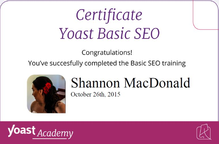 SEO Certification Earned!